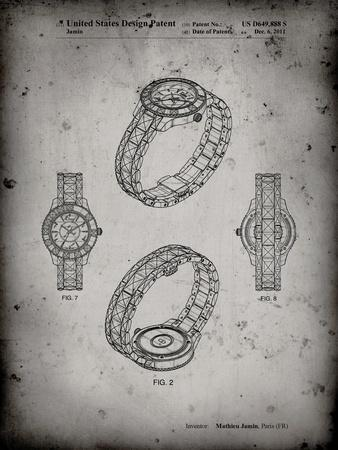 PP651-Faded Grey Luxury Watch Patent Poster