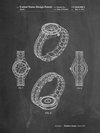PP651-Chalkboard Luxury Watch Patent Poster