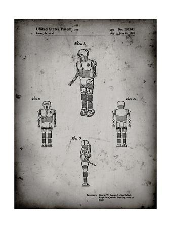 PP691-Faded Grey Star Wars Medical Droid Patent Poster