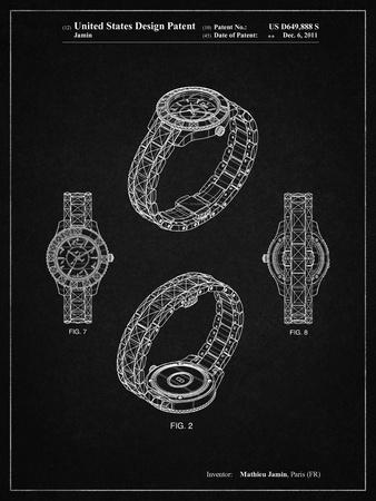 PP651-Vintage Black Luxury Watch Patent Poster