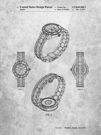 PP651-Slate Luxury Watch Patent Poster