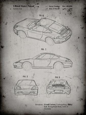 PP700-Faded Grey 199 Porsche 911 Patent Poster