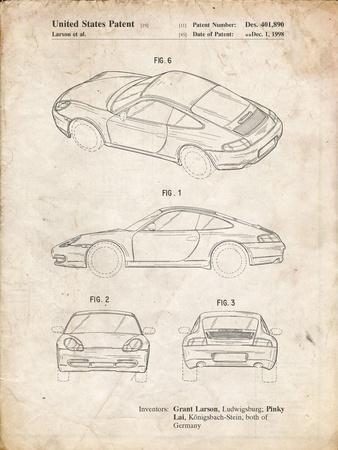 PP700-Vintage Parchment 199 Porsche 911 Patent Poster