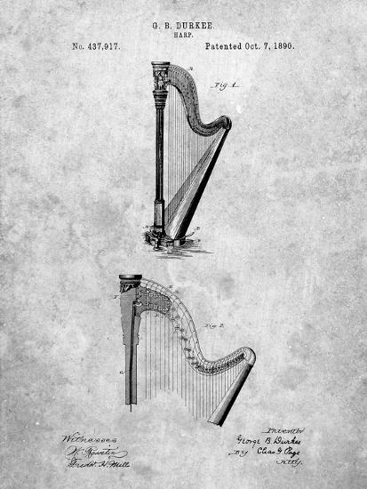 PP662-Slate Harp Instrument 1890 Patent Poster