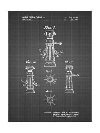 PP665-Black Grid Star Wars FX-7 Medical Droid Patent Poster