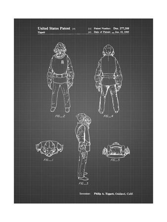 PP688-Black Grid Star Wars Admiral Ackbar Patent Poster