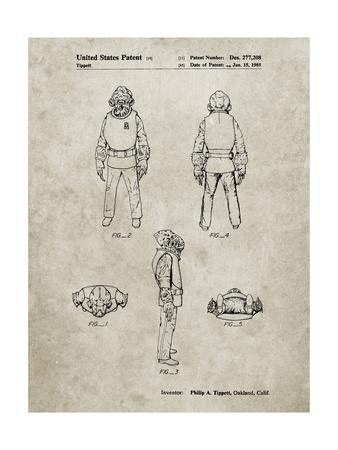 PP688-Sandstone Star Wars Admiral Ackbar Patent Poster