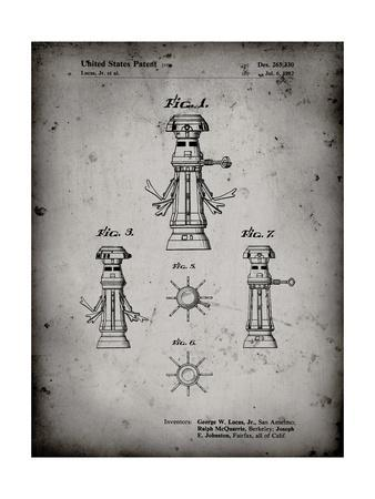 PP665-Faded Grey Star Wars FX-7 Medical Droid Patent Poster