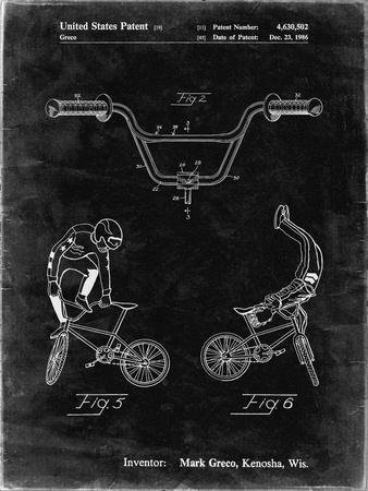 PP734-Black Grunge Bicycle Handlebar Art