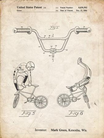 PP734-Vintage Parchment Bicycle Handlebar Art