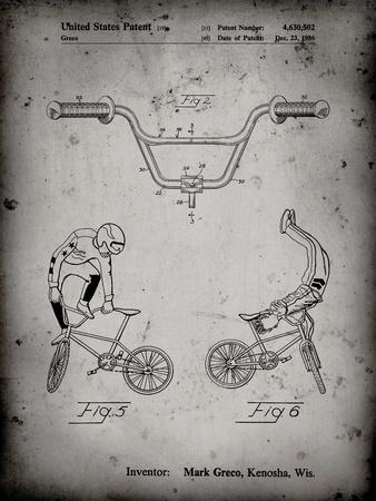 PP734-Faded Grey Bicycle Handlebar Art