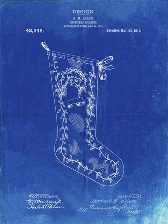 PP764-Faded Blueprint Christmas Stocking 1912 Patent Poster