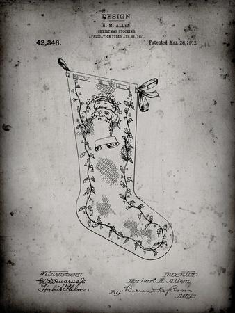 PP764-Faded Grey Christmas Stocking 1912 Patent Poster
