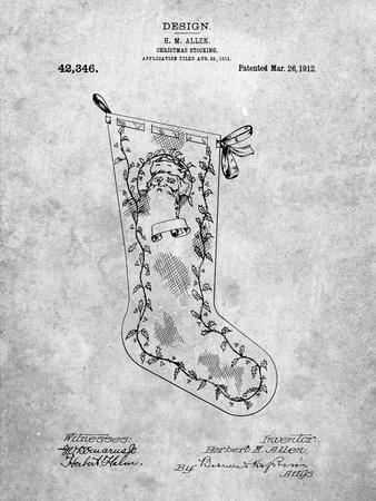 PP764-Slate Christmas Stocking 1912 Patent Poster