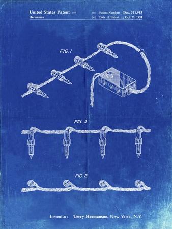PP763-Faded Blueprint Christmas Lights Poster