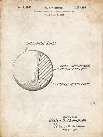 PP736-Vintage Parchment Billiard Ball Patent Poster
