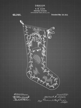 PP764-Black Grid Christmas Stocking 1912 Patent Poster