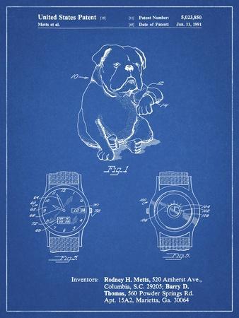 PP784-Blueprint Dog Watch Clock Patent Poster