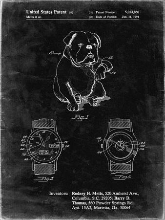 PP784-Black Grunge Dog Watch Clock Patent Poster