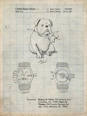PP784-Antique Grid Parchment Dog Watch Clock Patent Poster