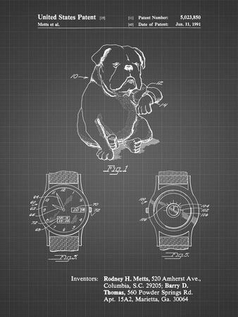 PP784-Black Grid Dog Watch Clock Patent Poster