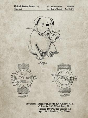 PP784-Sandstone Dog Watch Clock Patent Poster