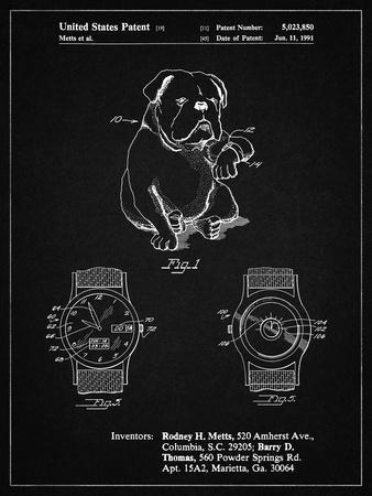 PP784-Vintage Black Dog Watch Clock Patent Poster