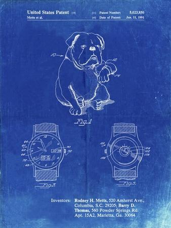PP784-Faded Blueprint Dog Watch Clock Patent Poster