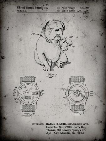 PP784-Faded Grey Dog Watch Clock Patent Poster