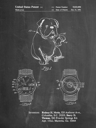 PP784-Chalkboard Dog Watch Clock Patent Poster