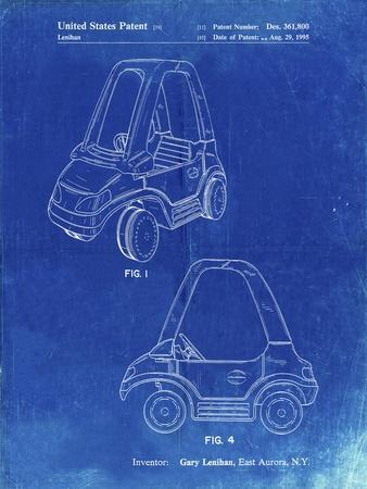 PP816-Faded Blueprint Fisher Price Toy Car Patent Poster
