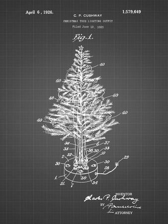 PP766-Black Grid Christmas Tree Poster