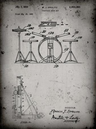PP852-Faded Grey Frank Ippolito Practice Drum Set Patent Poster