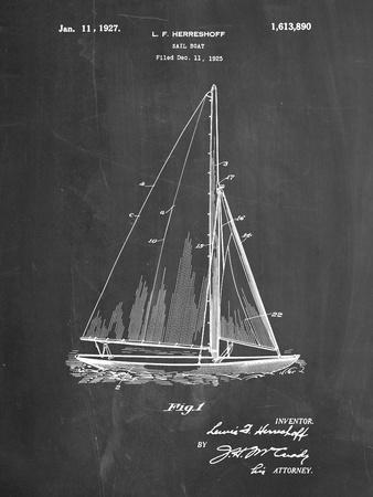 PP878-Chalkboard Herreshoff R 40' Gamecock Racing Sailboat Patent Poster