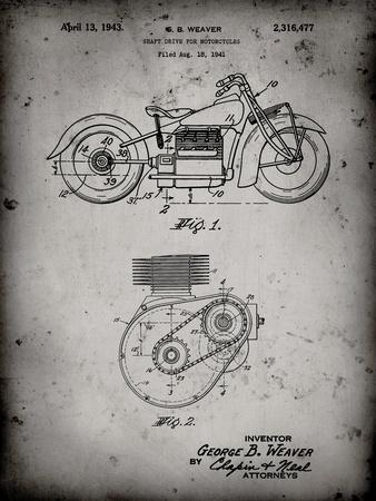 PP892-Faded Grey Indian Motorcycle Drive Shaft Patent Poster
