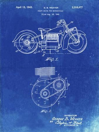 PP892-Faded Blueprint Indian Motorcycle Drive Shaft Patent Poster