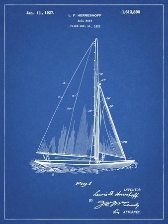 PP878-Blueprint Herreshoff R 40' Gamecock Racing Sailboat Patent Poster