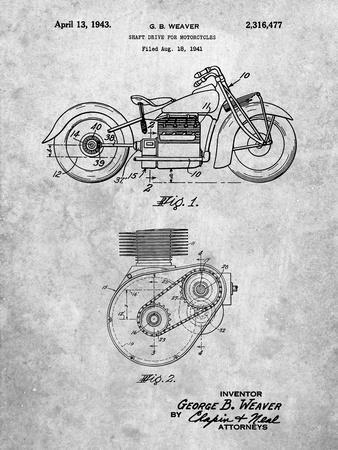 PP892-Slate Indian Motorcycle Drive Shaft Patent Poster