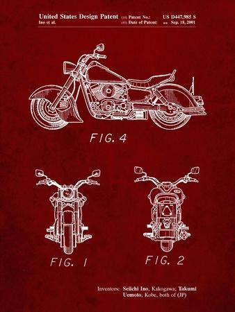 PP901-Burgundy Kawasaki Motorcycle Patent Poster