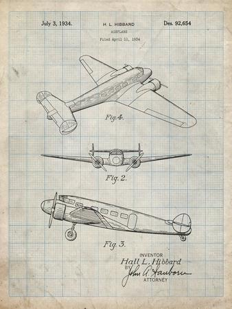 PP945-Antique Grid Parchment Lockheed Electra Airplane Patent Poster