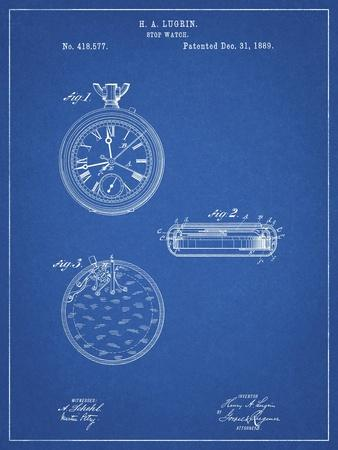 PP940-Blueprint Lemania Swiss Stopwatch Patent Poster