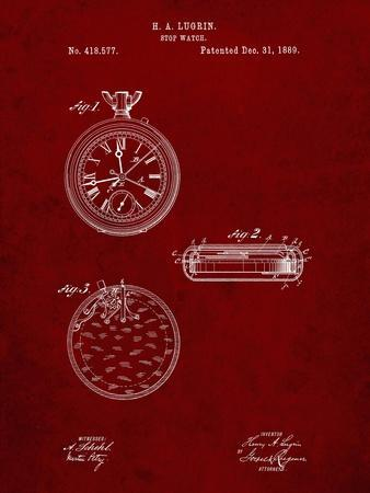 PP940-Burgundy Lemania Swiss Stopwatch Patent Poster