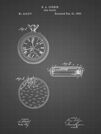 PP940-Black Grid Lemania Swiss Stopwatch Patent Poster