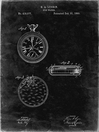 PP940-Black Grunge Lemania Swiss Stopwatch Patent Poster