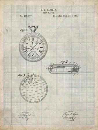 PP940-Antique Grid Parchment Lemania Swiss Stopwatch Patent Poster