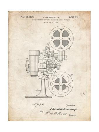 PP966-Vintage Parchment Movie Projector 1933 Patent Poster