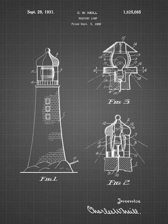 PP941-Black Grid Lighthouse Patent Poster