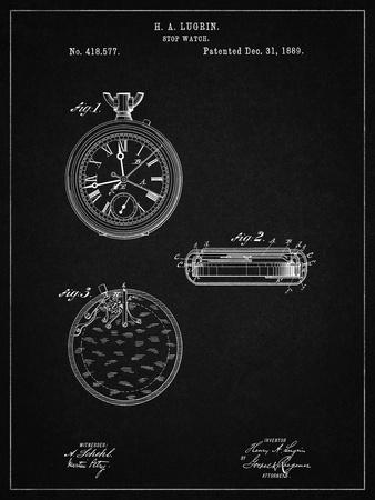 PP940-Vintage Black Lemania Swiss Stopwatch Patent Poster
