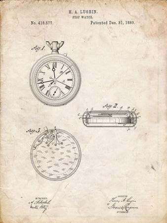 PP940-Vintage Parchment Lemania Swiss Stopwatch Patent Poster