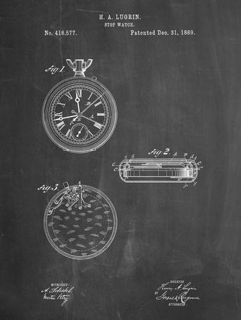 PP940-Chalkboard Lemania Swiss Stopwatch Patent Poster